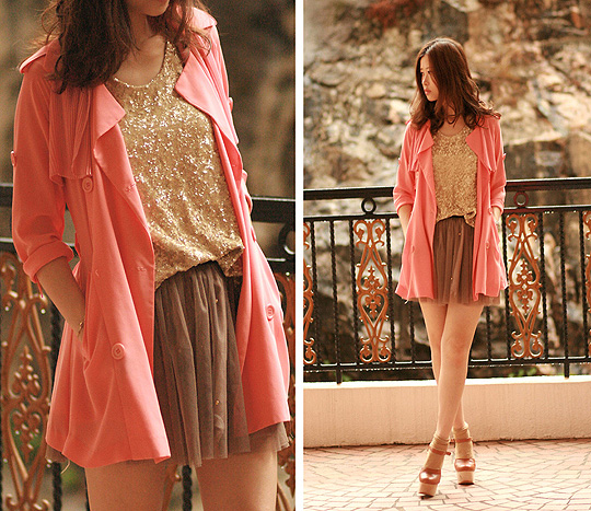 Sunset  - Coral chiffon trench, Weeken, Chunky mary jane, Weeken, Golden sequin vest, Weeken, Mayo Wo