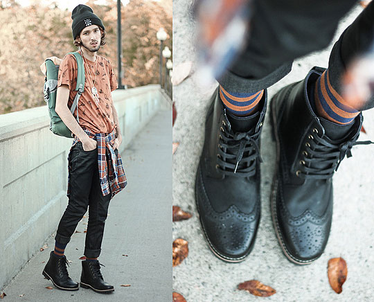 Autumn Hikes - Graphic Tee, Weeken, Striped Socks, Weeken, Dream Catcher Necklace, Weeken, Beanie, Weeken, Colour Block Backpack, Weeken, Rail Slickback Jeans, Weeken, Black Leather Boots, Weeken, Bobby Raffin