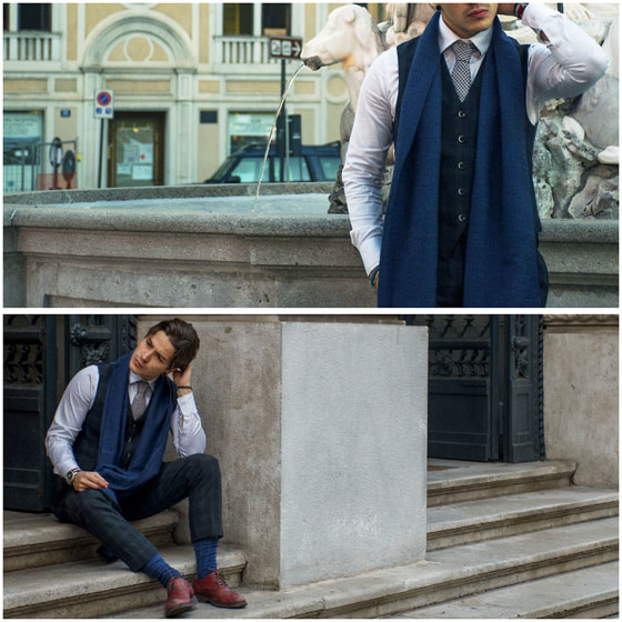 Dandy - Gagliardi's scarf, Weeken, Gagliardi's Tie, Weeken, Gutteridge's pants, Weeken, Nara camicie's shirt, Weeken, Calpierre's shoes, Weeken, Andrea Scigliuzzo