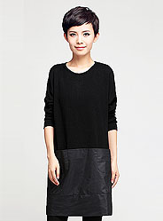 Autumn casual double pocket knitted woven stitching T-shirt dress