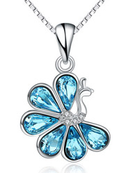 925 sterling silver European and American Choi Po crystal peacock necklace pendant accessories