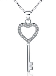 925 sterling silver love key pendant