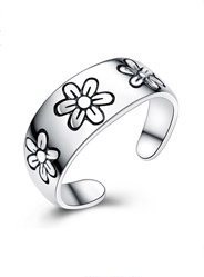 Sterling Silver Printed Chrysanthemum Opening Ring
