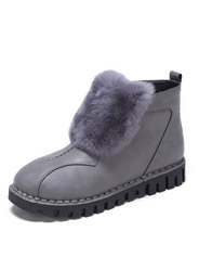 Daphne comfortable flat-bottomed fashion stitching plush snow boots