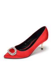Daphne comfortable low-heeled shoes temperament pointed metal buckle fine with dress shoes