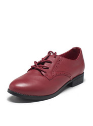 Daphne genuine leather round with thick deep female lace casual shoes