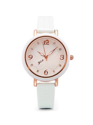 YILI simple fashion waterproof round dial glass mirror high quality alloy case ladies quartz watch